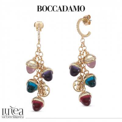 Crescent earrings of zircons and tuft of morganite, emerald, ruby and amethyst pyramidal crystals