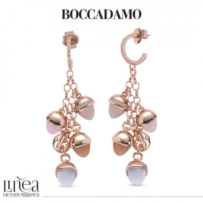 Crescent earrings of cubic zirconia and tuft of pyramidal crystals in the color of rose quartz, gray cat-like agate, carnelian and mother of pearl