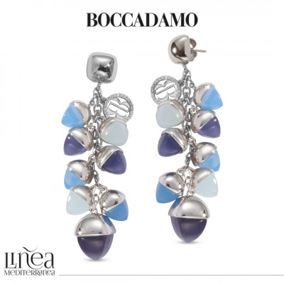 Earrings with ear of wheat pyramidal crystals in aqua milk color, tanzanite and blue agate