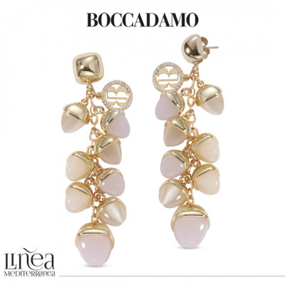 Earrings with pyramidal crystals in ear of corn in the color of moonstone and rose quartz