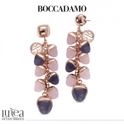 Earrings with pyramidal crystals in ear of corn in rose quartz and tanzanite