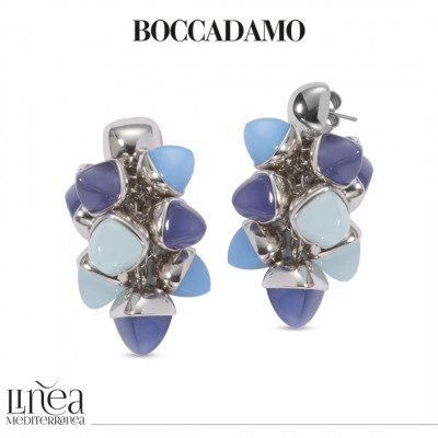 Earrings with a tuft of pyramidal crystals in aqua milk, blue agate and tanzanite