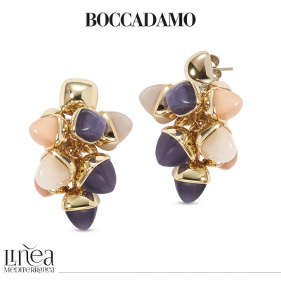 Earrings with a tuft of pyramidal crystals in tanzanite, carnelian and moonstone