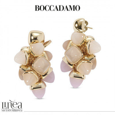 Earrings with a tuft of pyramidal crystals in the color of moonstone and rose quartz