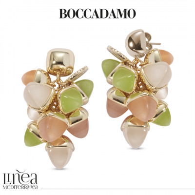 Earrings with a tuft of pyramidal crystals in the color of moonstone, carnelian and olivine