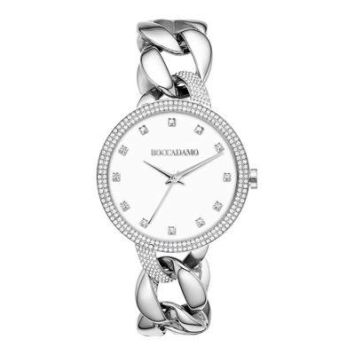 Wristwatch woman with groumette Bracelet and white dial