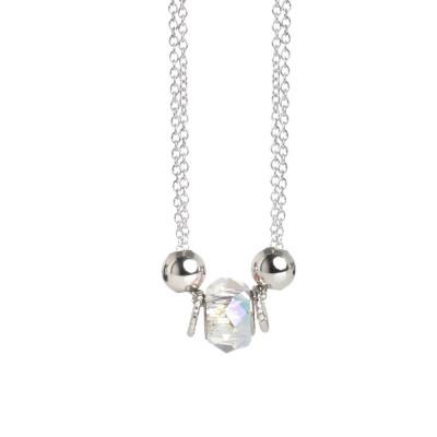 Necklace double thread with Swarovski Crystal aurora borealis