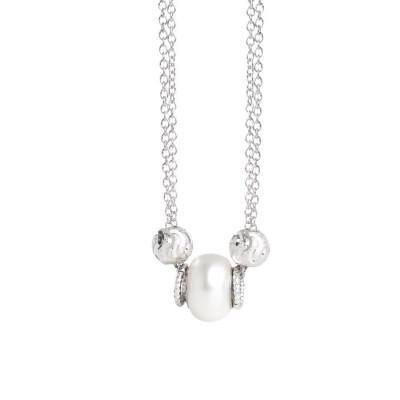 Collana doppio filo con perla Swarovski white
