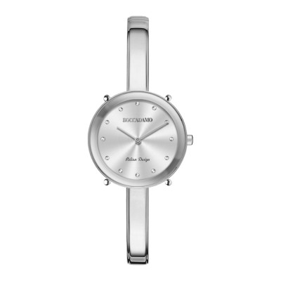 Women's silver only time watch with Swarovski indexes