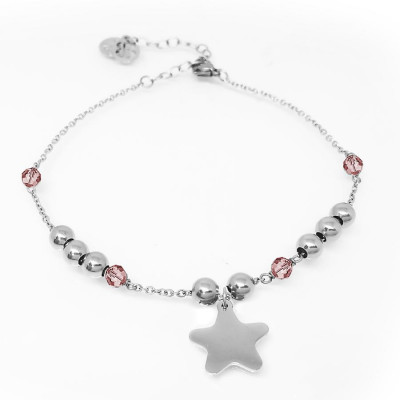 Ankle brace with Swarovski padparadscha and charm in the form of a star