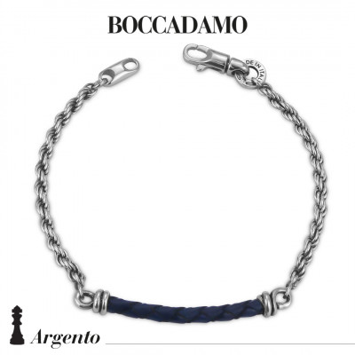 Rope mesh bracelet with blue leather cord