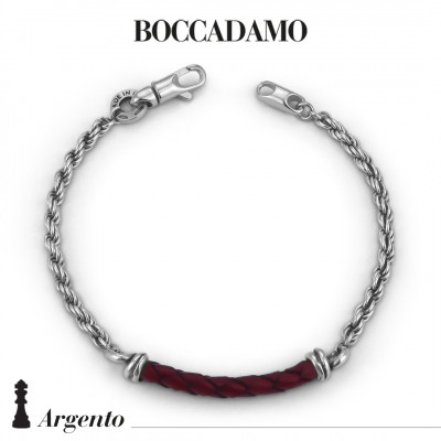 Rope mesh bracelet with red leather cord