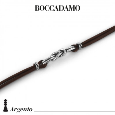 Brown leather bracelet with flat knot