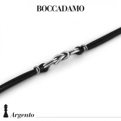 Black leather bracelet with flat knot