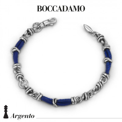 Bracelet with knots in silver and blue leather