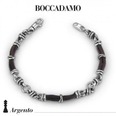 Bracelet with knots in silver and brown leather