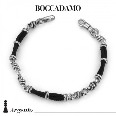 Bracelet with knots in silver and black leather