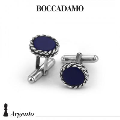 Twisted thread cufflinks with blue agate