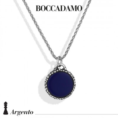 Herringbone necklace with blue agate