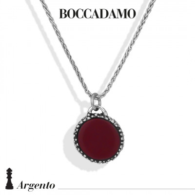 Herringbone necklace with red agate