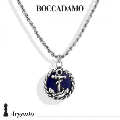 Necklace with anchor and blue agate