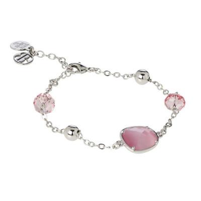 Bracelet with Swarovski crystals light rose and central pink