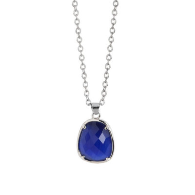Necklace with faceted crystal Sapphire