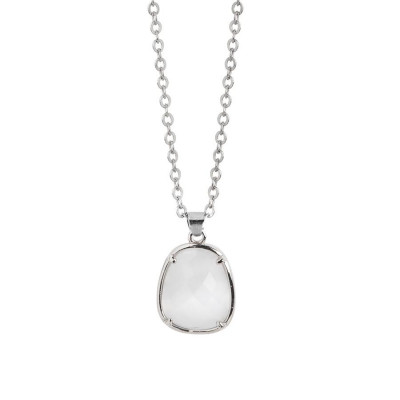 Necklace with faceted crystal white