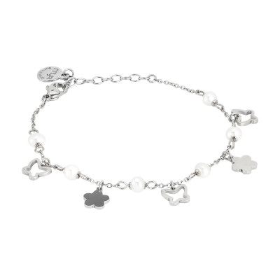 Bracelet with flowers, butterflies and natural pearls