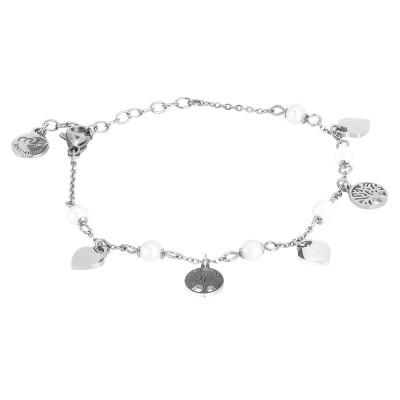 Bracelet with hearts, tree of life and natural pearls