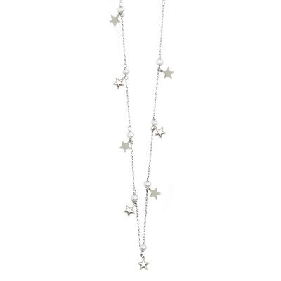 Long necklace with pearls and stars