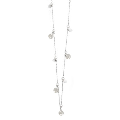 Long necklace with pearls and tree of life