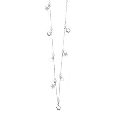 Long necklace with pearls, stars and hearts