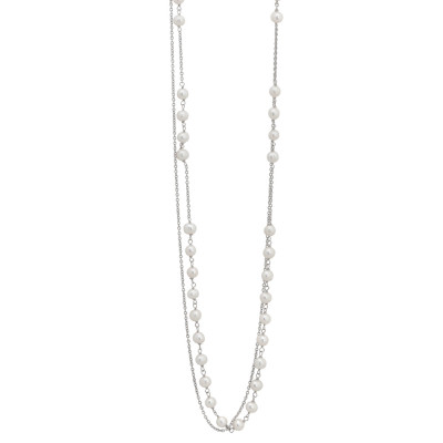 Double strand necklace with central pearl decoration