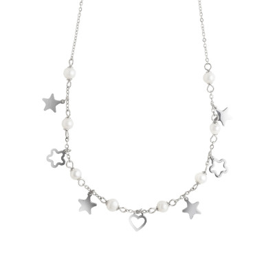 Necklace with stars, flowers and natural pearls
