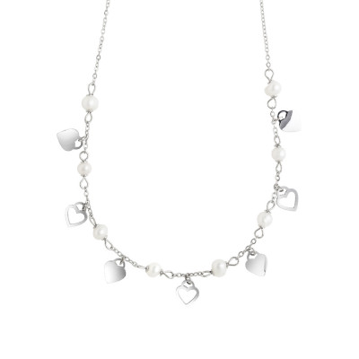 Necklace with hearts and natural pearls