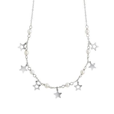 Necklace with stars and natural pearls