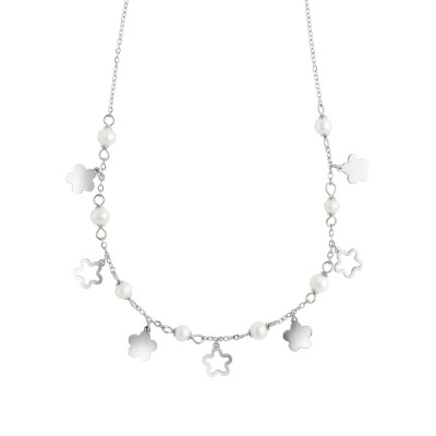 Necklace with flowers and natural