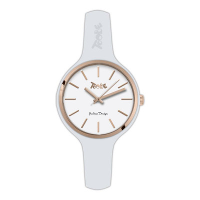 Watch lady in anallergic silicone white and pink ring