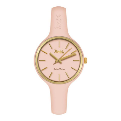 Watch lady in anallergic silicone powder pink and golden ring