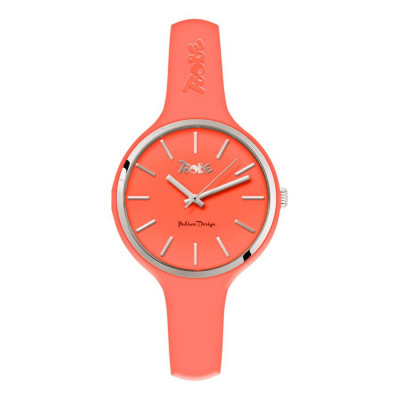 Watch lady in silicone anallergic peach and silver ring