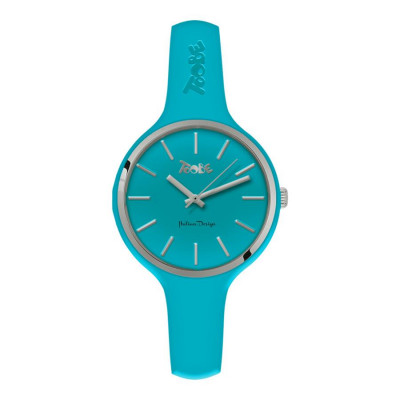Watch lady in anallergic silicone blue and silver ring