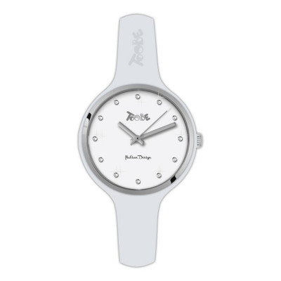 Watch lady in anallergic silicone white, silver ring and indexes in Swarovski