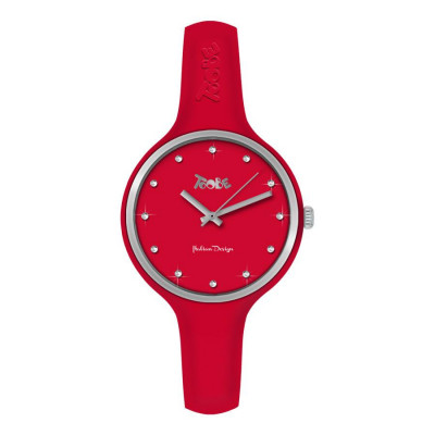 Watch lady in anallergic silicone red, silver ring and indexes in Swarovski