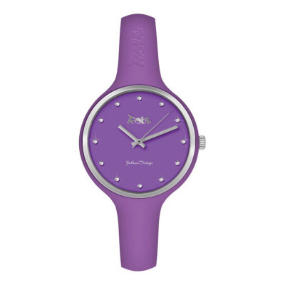 Watch lady in silicone anallergic violet, silver ring and indexes in Swarovski