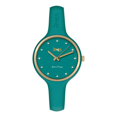 Watch lady in anallergic silicone oil green, golden ring and indexes in Swarovski