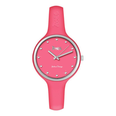 Watch lady in silicone anallergic strawberry-colored, silver ring and indexes in Swarovski