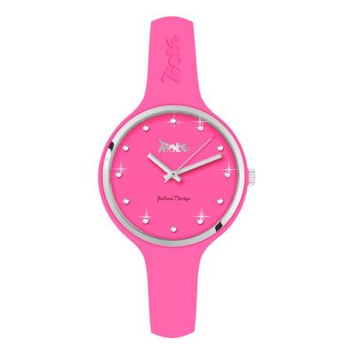 Watch lady in silicone anallergic fuchsia, silver ring and indexes in Swarovski