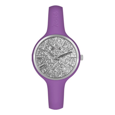 Watch lady in silicone anallergic purple with quadrant in silver gloss