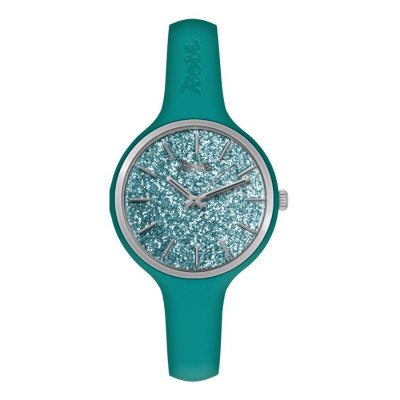 Watch lady in anallergic silicone oil green with quadrant in silver gloss